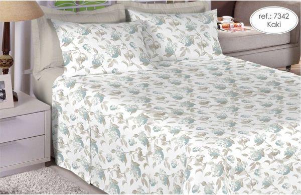 Jogo de cama casal Percal 200 fios 100% algodão estampado Kaki com Flores