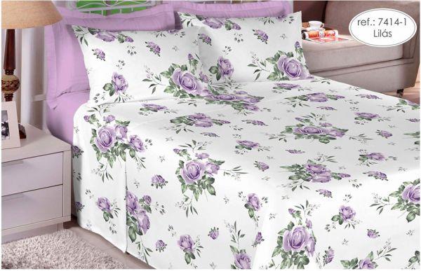 Jogo de cama casal Percal 200 fios 100% algodão estampado Lilás com Rosas 7414-1