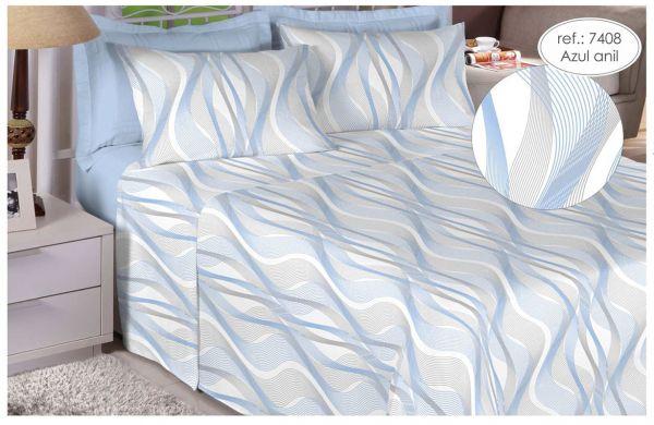 Jogo de cama de casal Percal 200 fios 100% algodão estampado - Azul Anil 7408