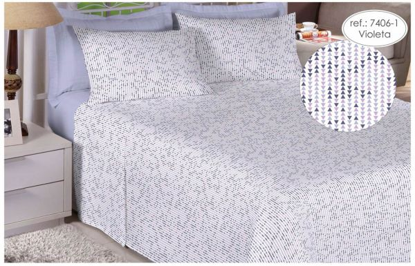 Jogo de cama de casal Percal 200 fios 100% algodão estampado Violeta Geométrico