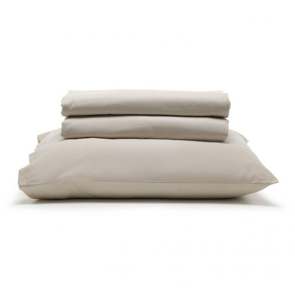 Jogo de cama casal Prata 150 Fios 100% algodão Bege liso - Santista