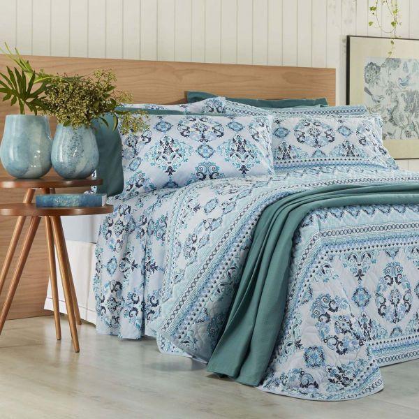 Jogo de cama solteiro Prata 150 Fios 100% algodão Dalila estampado azul - Santista