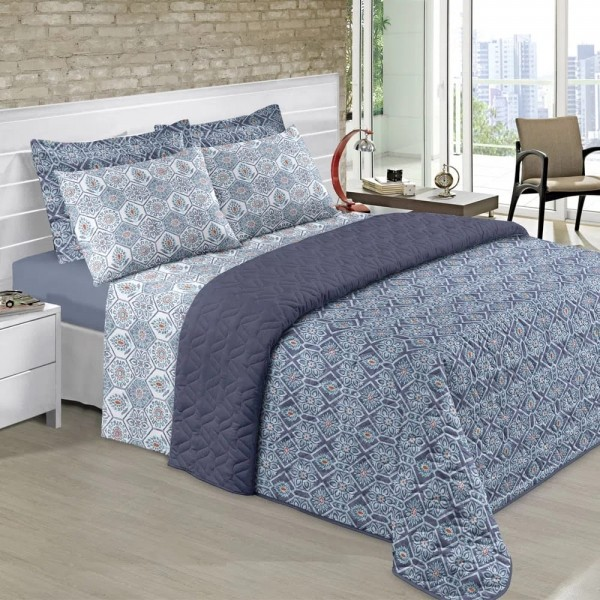 Jogo de cama casal Prata 150 Fios 100% algodão Derbak estampado azul - Santista