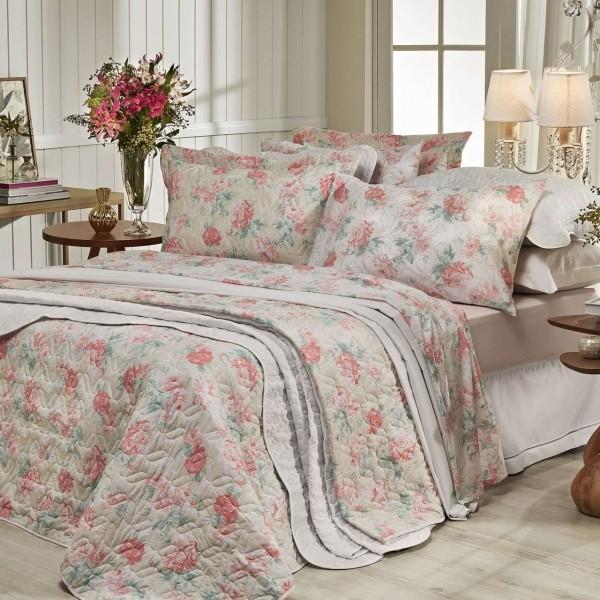 Jogo de cama casal Prata 150 Fios 100% algodão Giulia estampado Salmão - Santista