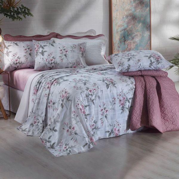Jogo de cama casal Prata 150 Fios 100% algodão Glenda estampado rosa - Santista