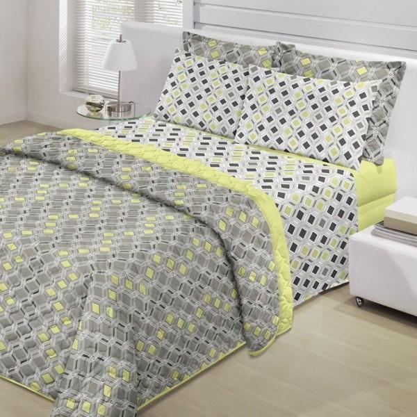 Jogo de cama casal Prata 150 Fios 100% algodão Sergio estampado azul - Santista
