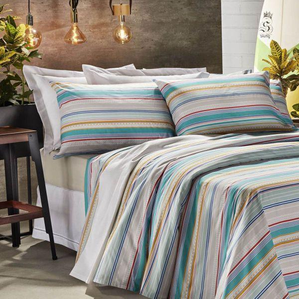 Jogo de cama casal Prata 150 Fios 100% algodão Venice estampado - Santista