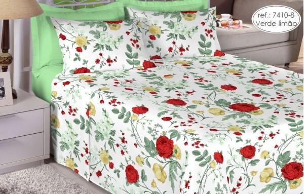 Jogo de cama casal Premium 200 fios 100% algodão 7410-8 Verde Limão