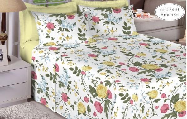 Jogo de cama casal Premium 200 fios 100% algodão 7410 Amarelo