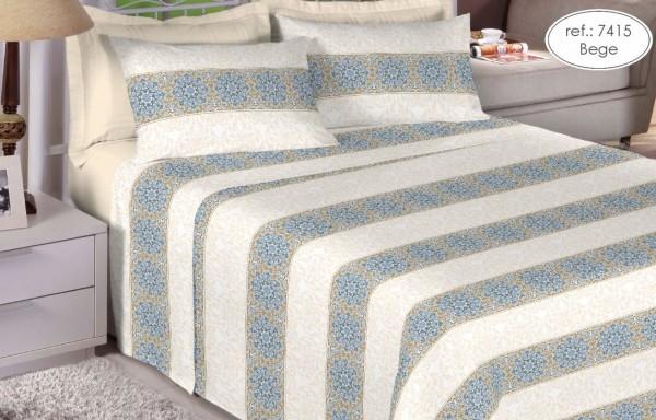 Jogo de cama casal Premium Linea 180 fios 100% algodão 7415 Bege