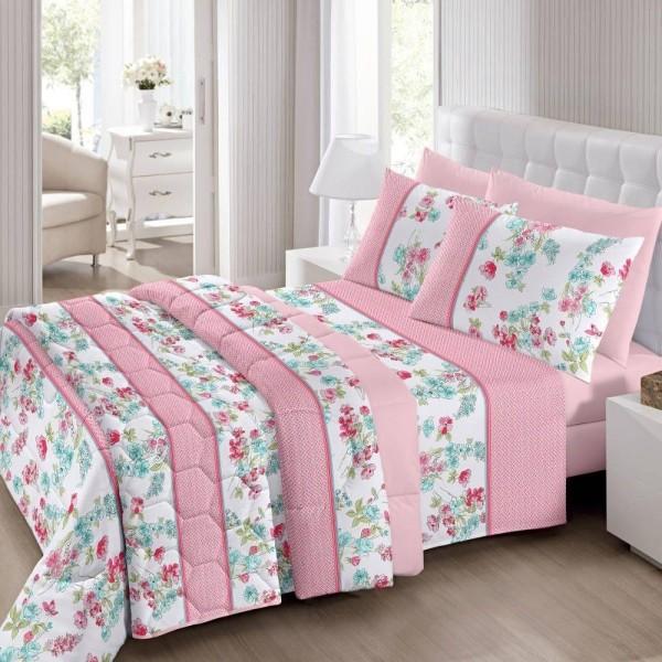 jogo de cama casal Royal 100% algodão Sissy estampado Rosa - Santista