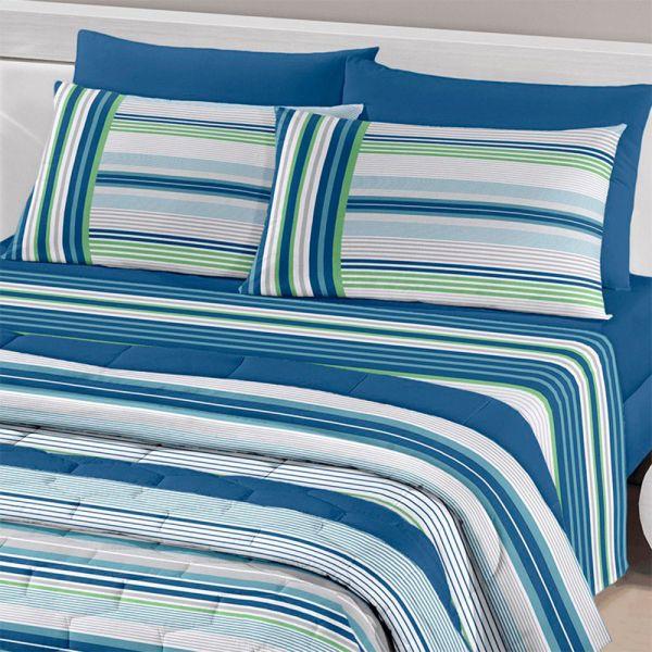 Jogo de cama casal Royal Fabio 1 100% algodão estampado listrado azul
