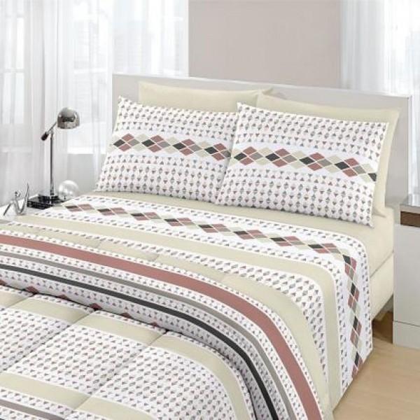 Jogo de cama casal Royal Nando 1 100% algodão estampado bege - Santista