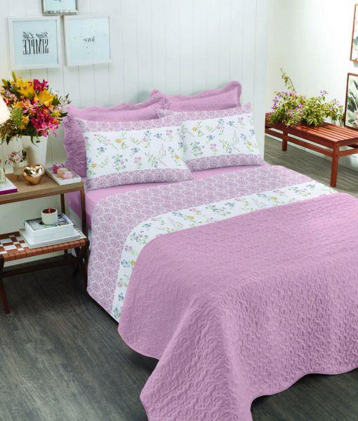 jogo de cama casal Royal Nayla 100% algodão estampado Rosa - Santista
