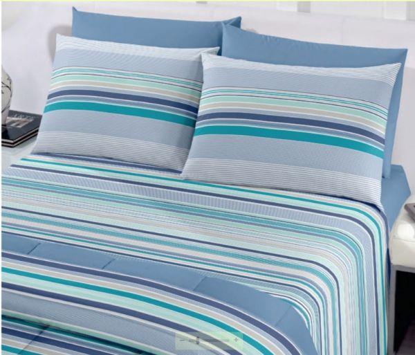 Jogo de cama casal Royal Onam 100% algodão estampado Azul listrado - Santista