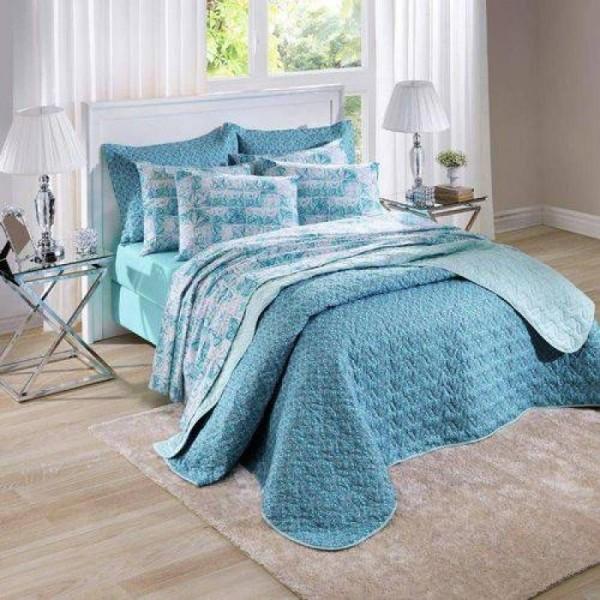 Jogo de cama casal unique 180 fios 100% algodão Glass estampado azul - Santista