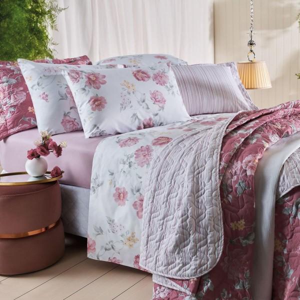 Jogo de cama casal unique 180 fios 100% algodão Liah estampado rosa - Santista