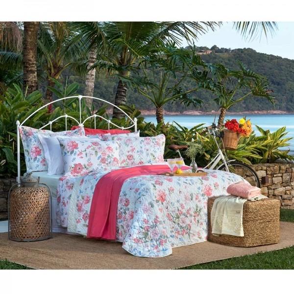 Jogo de cama casal unique 180 fios 100% algodão Luciana estampado rosa - Santista