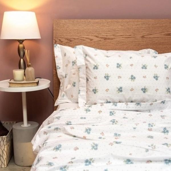 Jogo de cama casal unique 180 fios 100% algodão Rebeka estampado azul - Santista