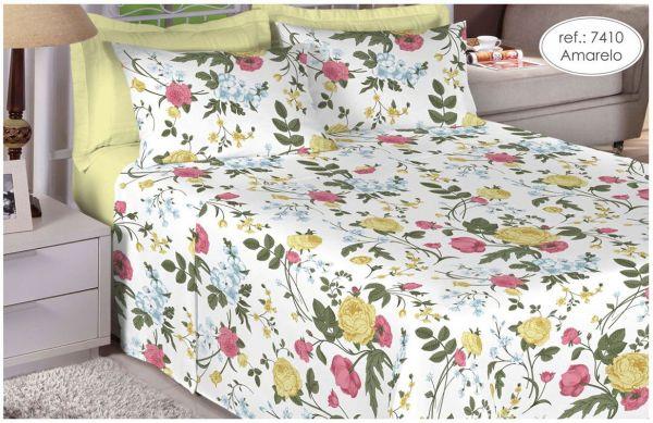 Jogo de cama de king Size Percal 200 fios 100% algodão estampado  Amarelo com Flores 7410
