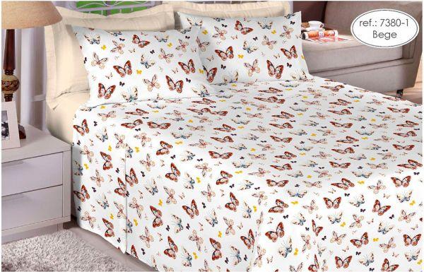Jogo de cama de King size Percal 180 fios 100% algodão Premium Linea estampado Borboletas  7380-1