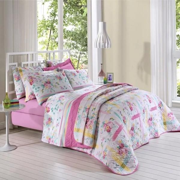 Jogo de cama king Prata 150 Fios 100% algodão Stella estampado rosa floral - Santista
