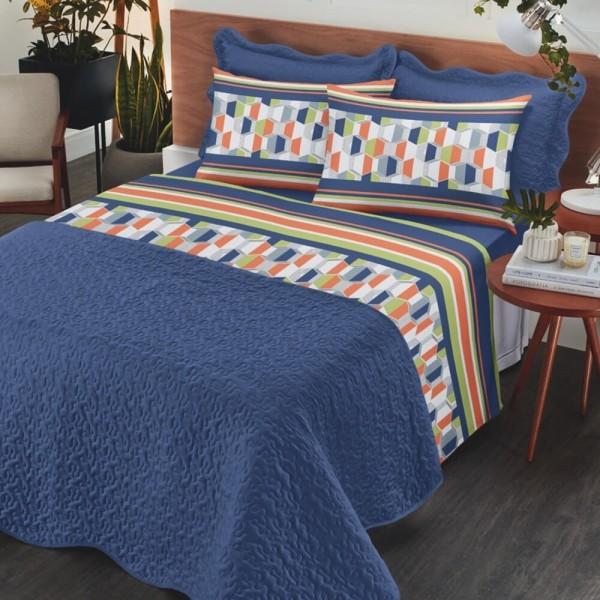 Jogo de cama king Royal 100% algodão estampado Miller - Santista
