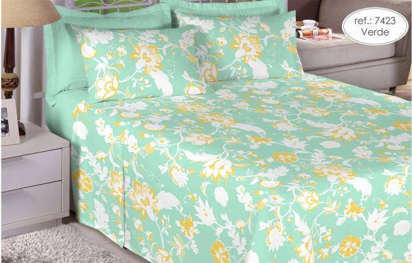 Jogo de cama king size Percal 150 fios 100% algodão estampado Verde Florido 7423