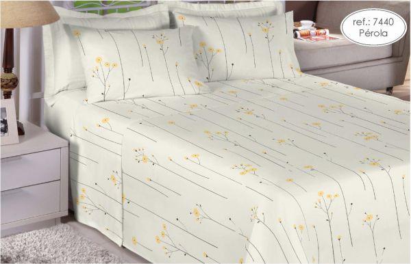 Jogo de cama king size 200 fios 100% algodão - estampado pérola 7440