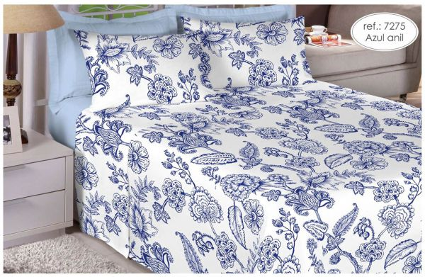 Jogo de cama king size Percal 150 fios - 100% algodão Premium - Azul Anil 7275