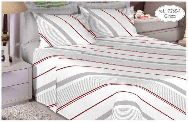 Jogo de cama King Size Percal 180 fios 100% algodão Premium Linea estampado cinza com listras 7265-1