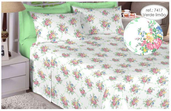 Jogo de cama queen size Percal 180 fios - 100% algodão Premium - Verde Limão 7417