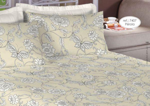 Jogo de cama king size percal 200 fios 100% algodão estampado flores e borboleta 7407
