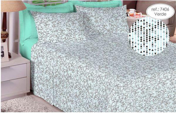 Jogo de cama King Size Percal 200 fios 100% algodão estampado Verde Geométrico
