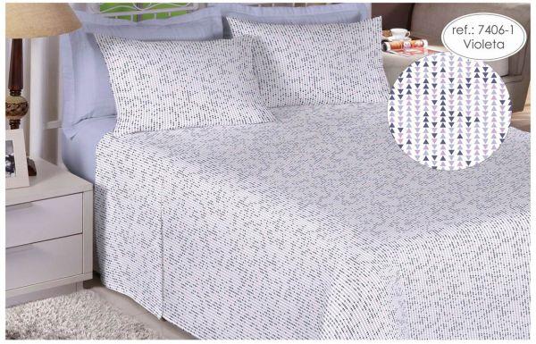 Jogo de cama queen size Percal 200 fios - 100% algodão Premium - Violeta 7406-1