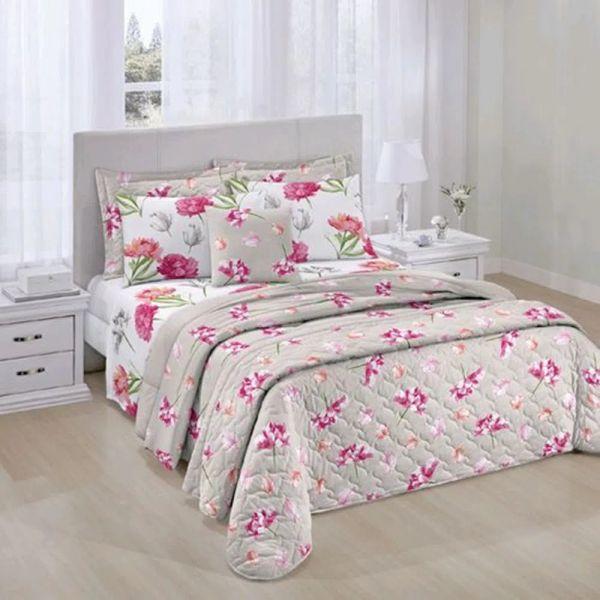 Jogo de cama king size Prata 150 fios 100% algodão Emanuelle estampado rosa - Santista