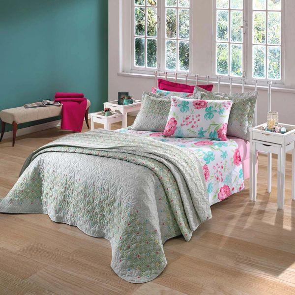 Jogo de cama Queen Prata 150 Fios 100% algodão Esther estampado Rosa - Santista