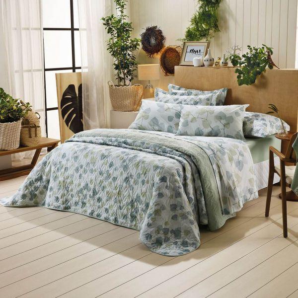 Jogo de cama king size Prata 150 fios 100% algodão Foret estampado verde - Santista