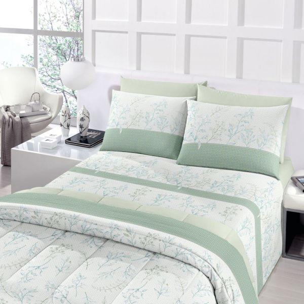 Jogo de cama king royal Flora 100% algodão estampado verde - Santista
