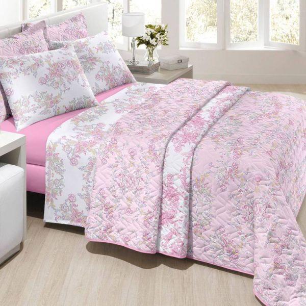 Jogo de cama king size Prata Susana 150 fios 100% algodão estampado rosa - Santista