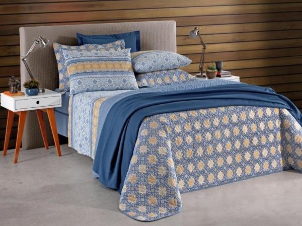 Jogo de cama Queen Prata 150 Fios 100% algodão Aline - Santista