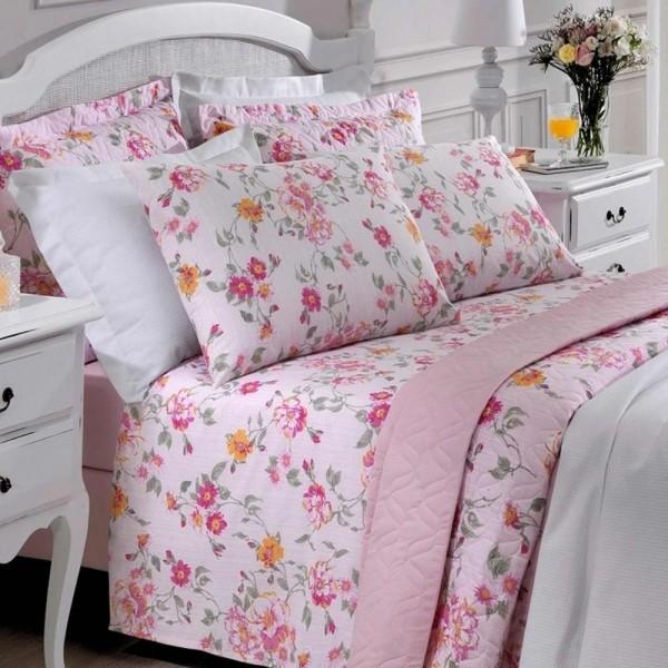 Jogo de cama Queen Prata 150 Fios 100% algodão Mariah estampado Rosa - Santista