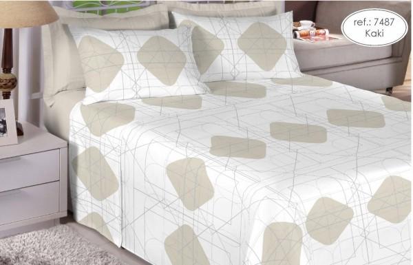 Jogo de cama queen Premium 200 fios 100% algodão 7487 Kaki