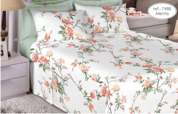 Jogo de cama queen Premium Linea 180 fios 100% algodão 7488 Menta