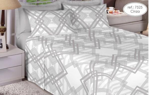Jogo de cama queen Premium Linea 180 fios 100% algodão 7525 Cinza
