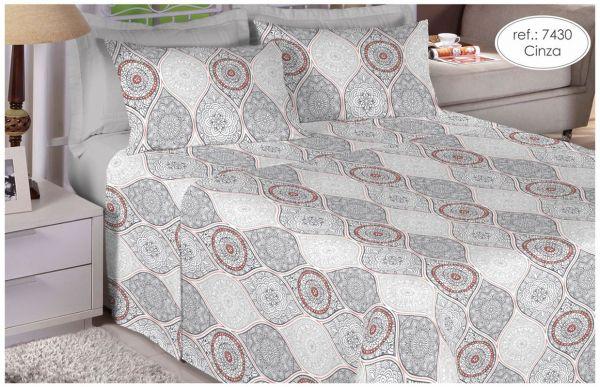 Jogo de cama queen size 100% algodão premium plus estampado cinza