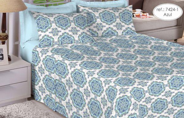 Jogo de cama queen size 150 fios 100% algodão estampado 7424-1
