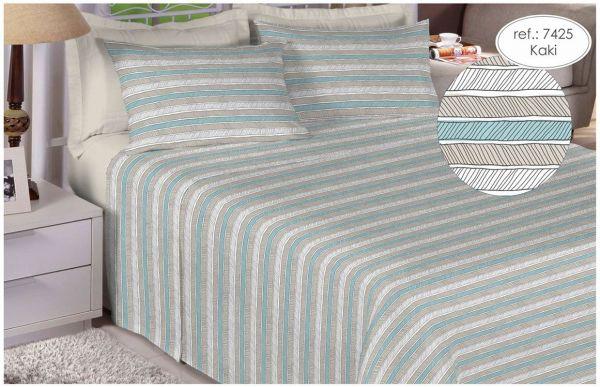 Jogo de cama queen size 150 fios 100% algodão estampado kaki 7425
