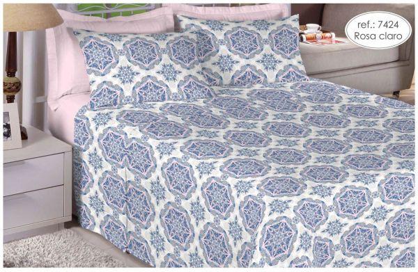 Jogo de cama queen size 150 fios 100% algodão estampado rosa claro 7424