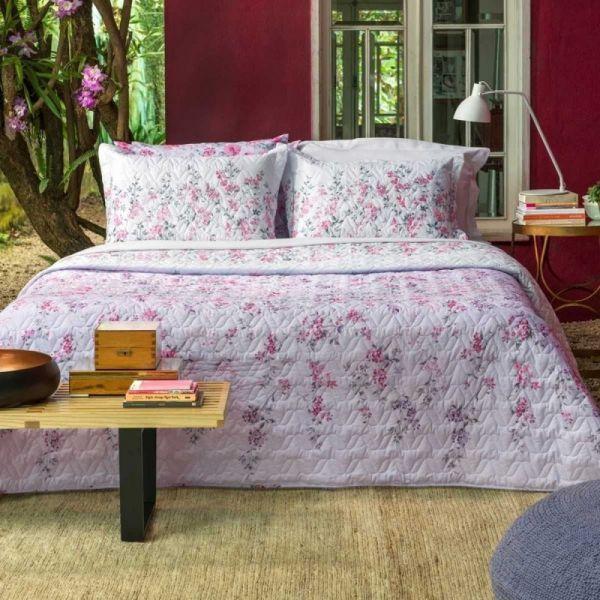 Jogo de cama queen size Home Desing 100% algodão Isa estampado rosa - Santista
